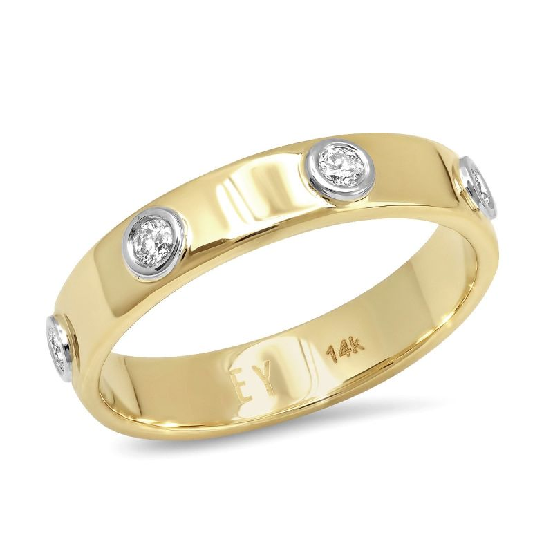 Liquid Metal - 14K Gold Narrow Hammered Band With Seven Diamonds image