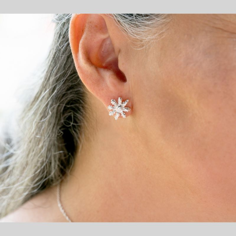 Blue Octocoral Stud Earrings - 18K Vermeil image