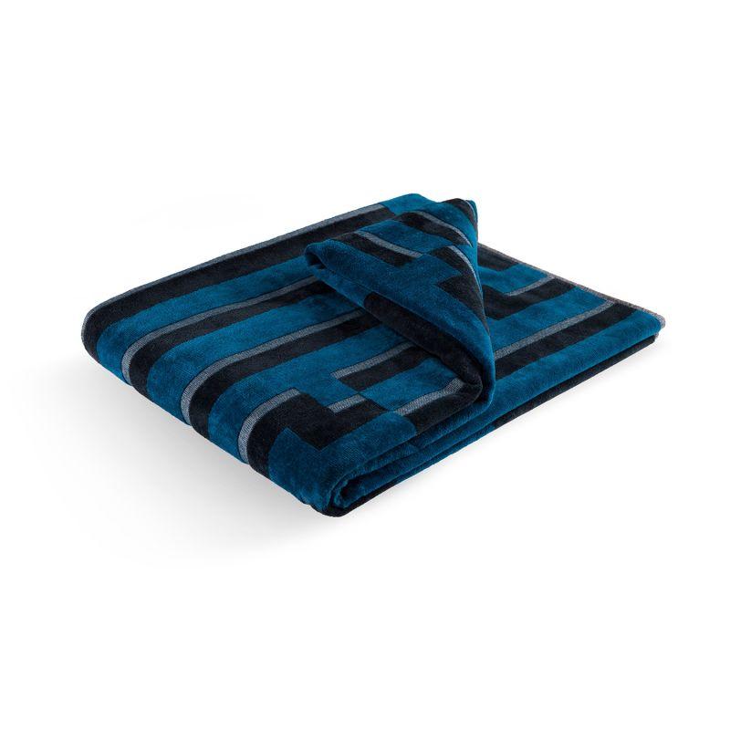 Bitmap Dark Blue Waves Beach Towel image
