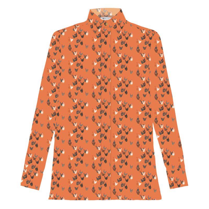Chicks Orange Linen Shirt image