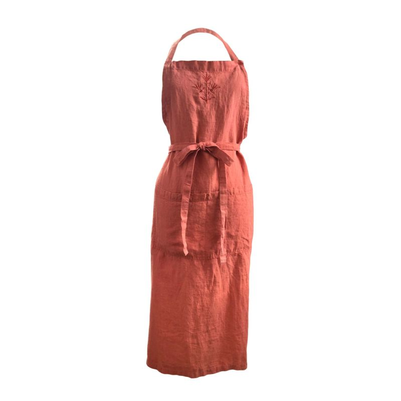 Orange Rust Embroidered Linen Apron image