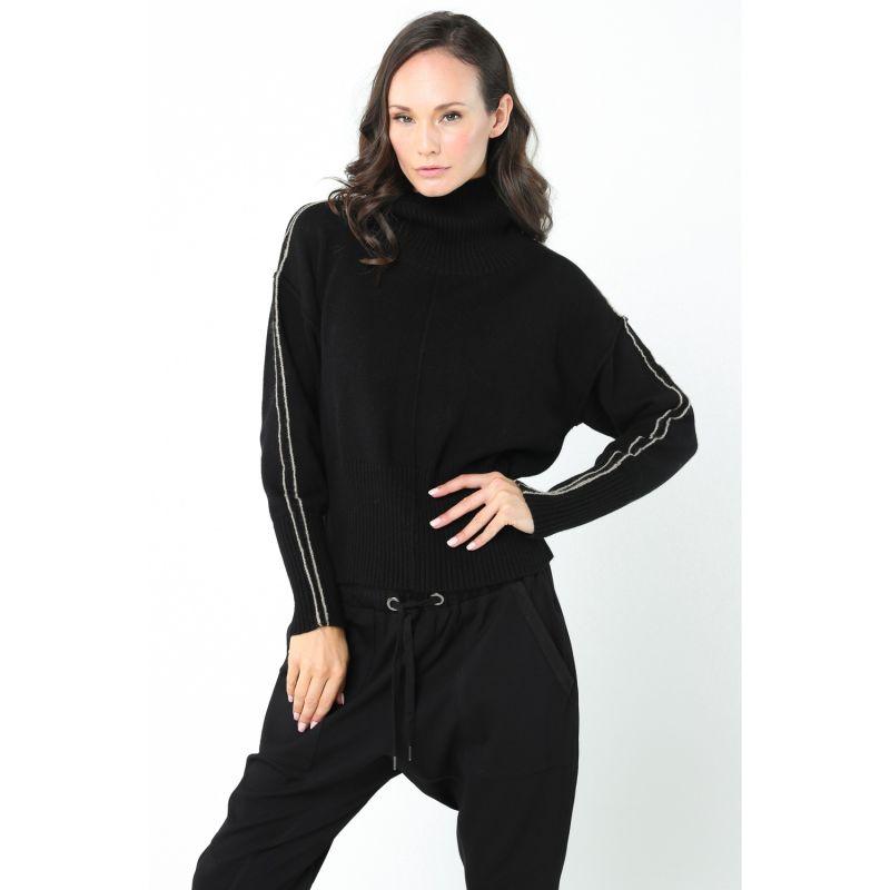 Rhine Cotton-Wool Blend Cropped Turtleneck Knit - Black image