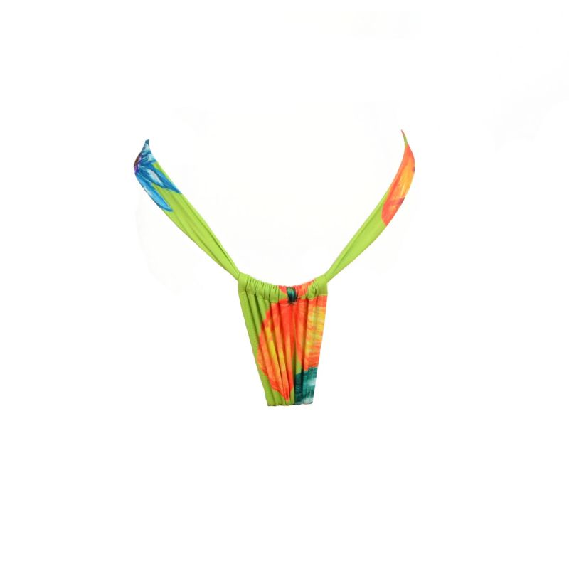 Magalenha - Lime Green / Colorful Tropical Pattern Thong Style Bottom image