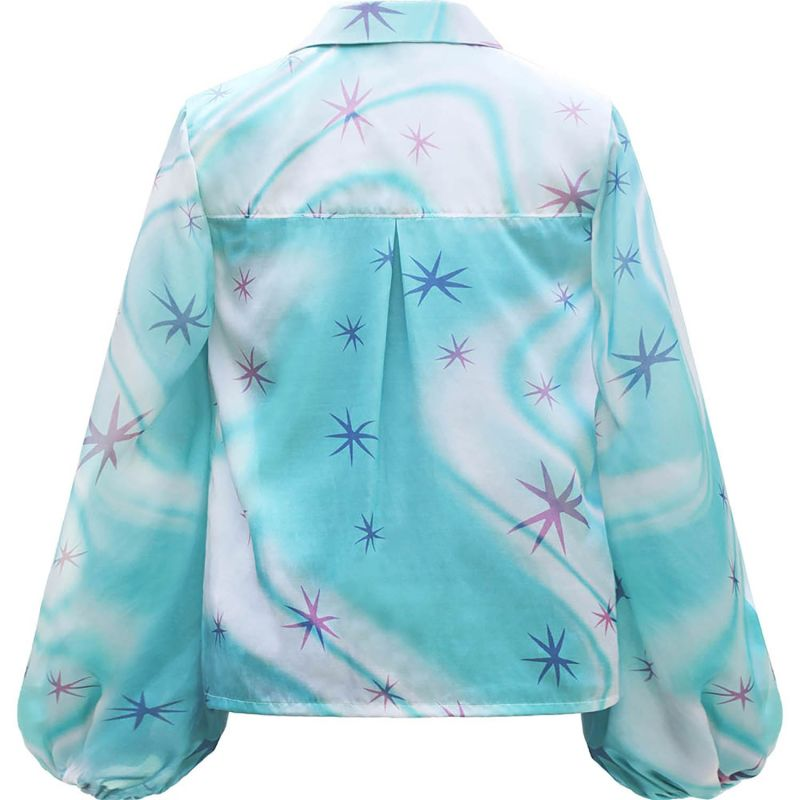 Blue Star Swirl Silk Satin Blouse image