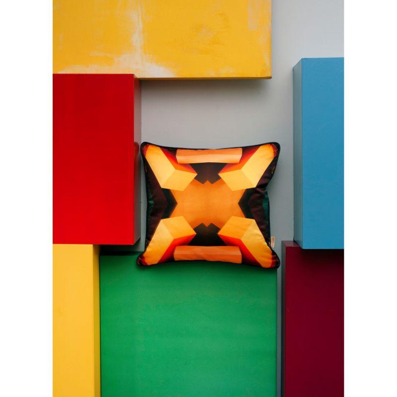 Four Yellow Blocks Silk Cushion image