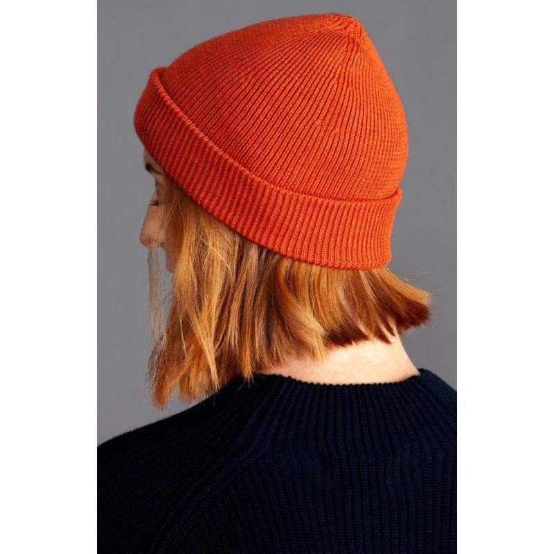 Heavyweight 100% Extra Fine Merino Fisherman Beanie Burnt Orange image