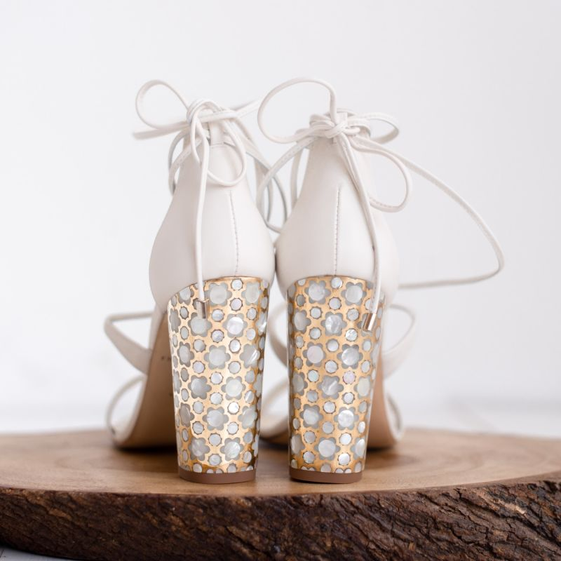 Soraya Ivory - Block Heel Sandal In Ivory Leather image