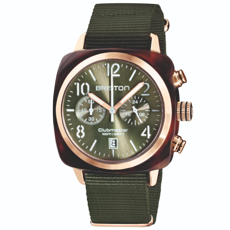 Briston Clubmaster Classic Chronograph Tortoise Shell Acetate, Sunray Green Olive Dial And Rose Gold image