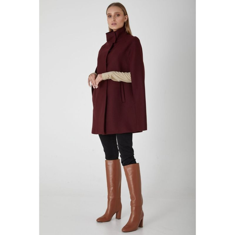 Wool Cashmere Single Breasted Cape - Bordeaux image