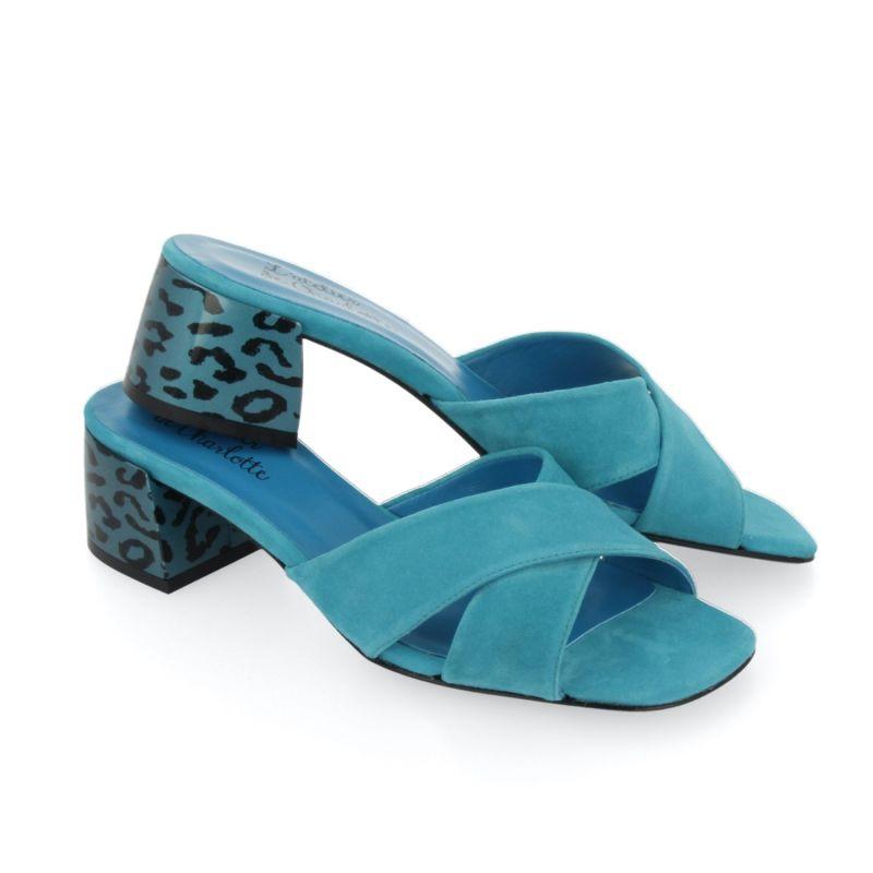 Jada Turquoise Suede Mules image