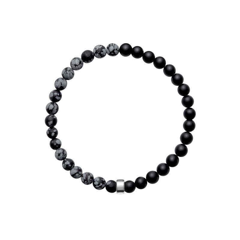 ARO Men's Snowflake Obsidian & Onyx Bracelet Silver Bead image