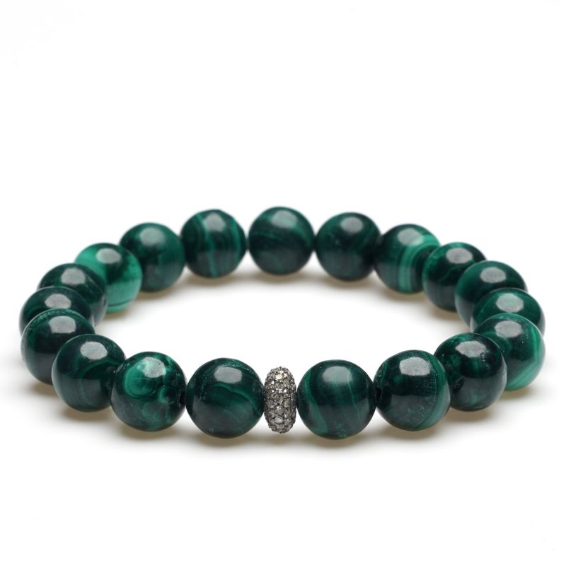 Malachite Diamond Beaded Bracelet image