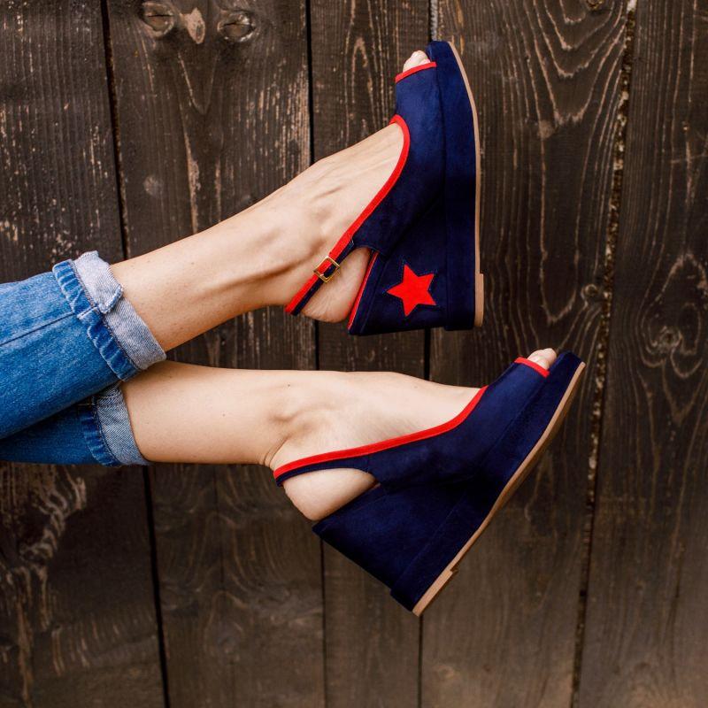 Davinia Blue & Red Wedges image