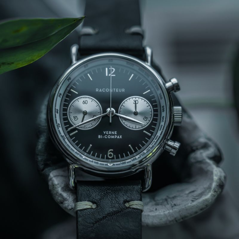 Verne Bi-Compax Silver Black - Brown Leather image