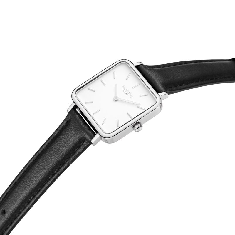 Neliö Square Vegan Leather Watch Silver, White & Black image