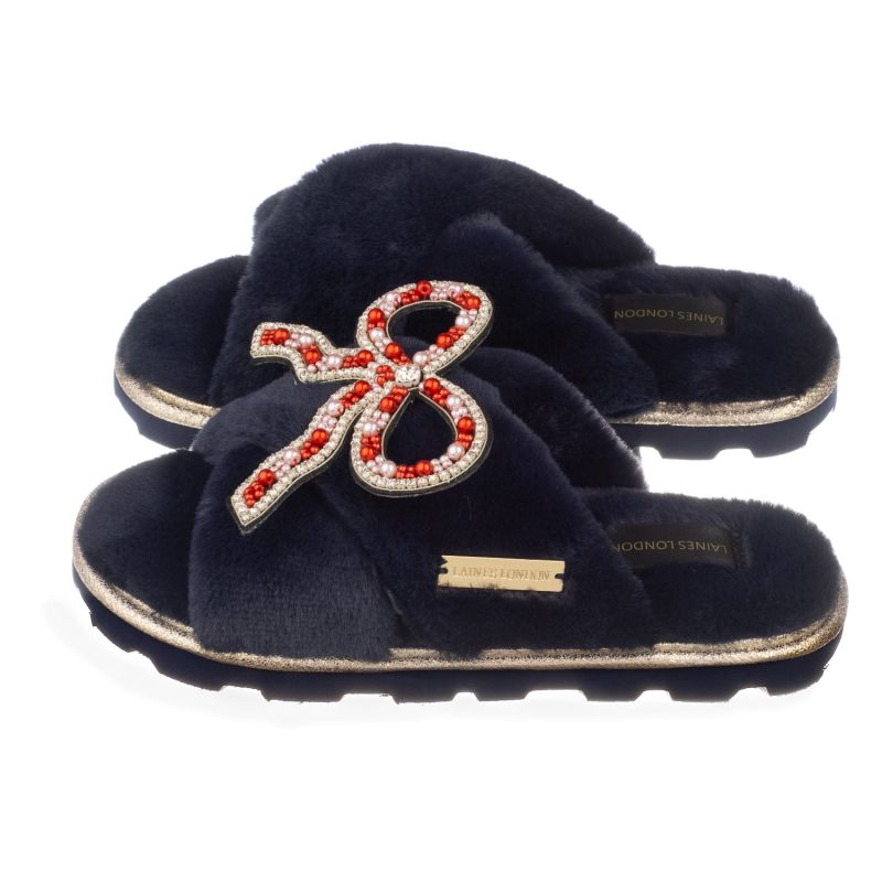 Ultralight Chic Navy Slippers / Sliders With Deluxe Artisan Bow Brooch image