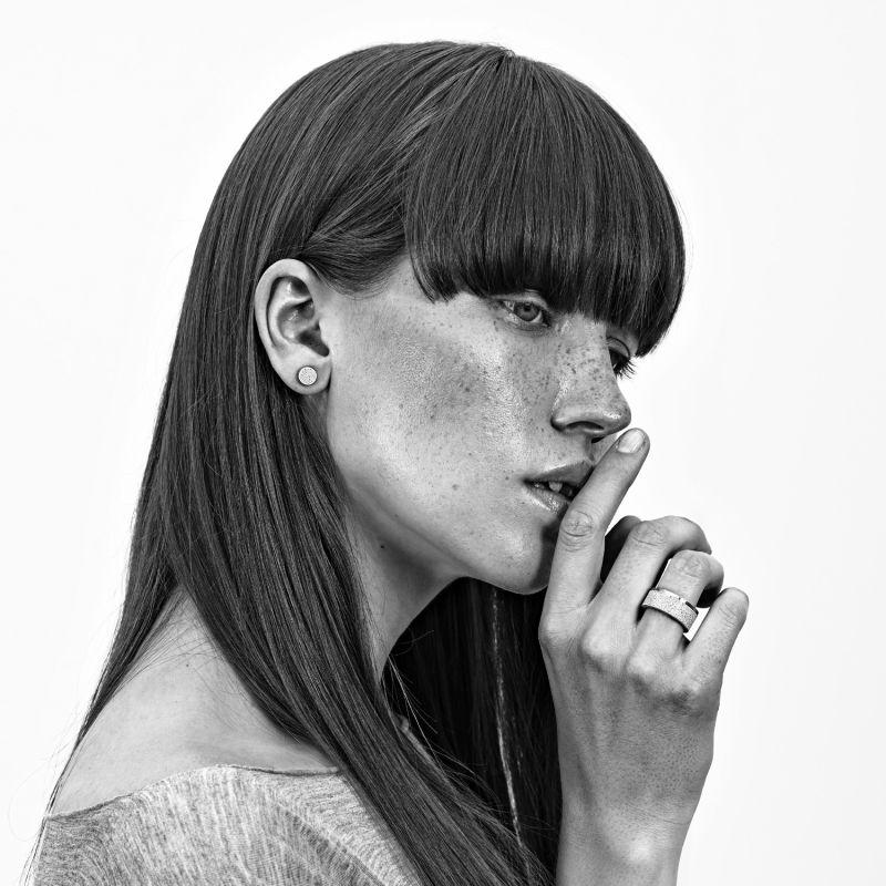 Minimalist Concrete & Stainless Steel Stud Earrings Grey image