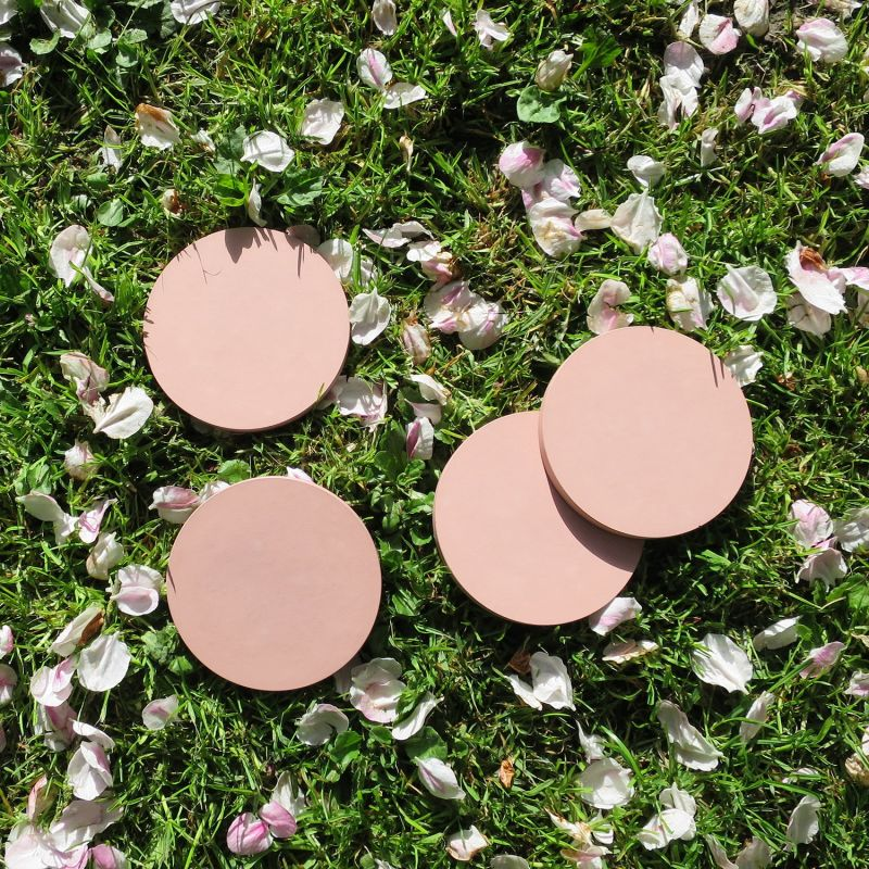 Set Of 4 Hand Poured Concrete Coasters In Blush image