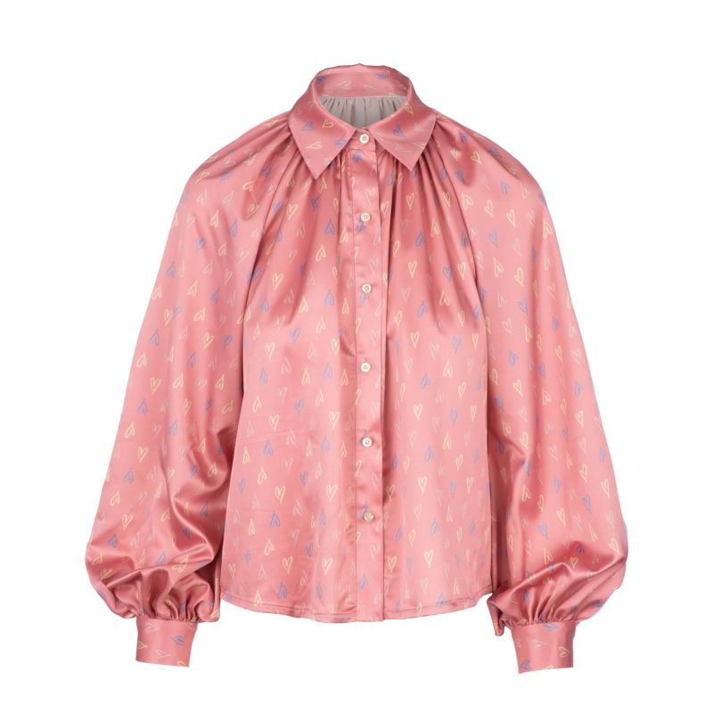Scribble Hearts Billow Sleeve Blouse image