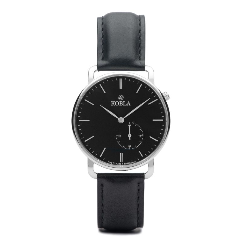 KOBLA Silver Case / Black Dial / Black Leather image