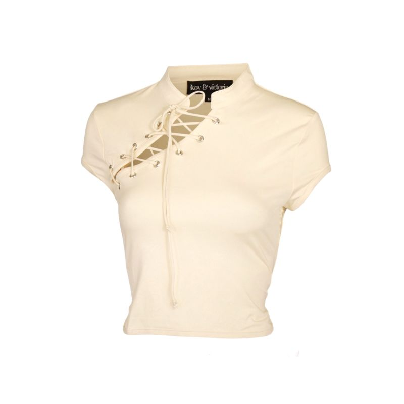 Zara Lace Up Crop Top - Butter image