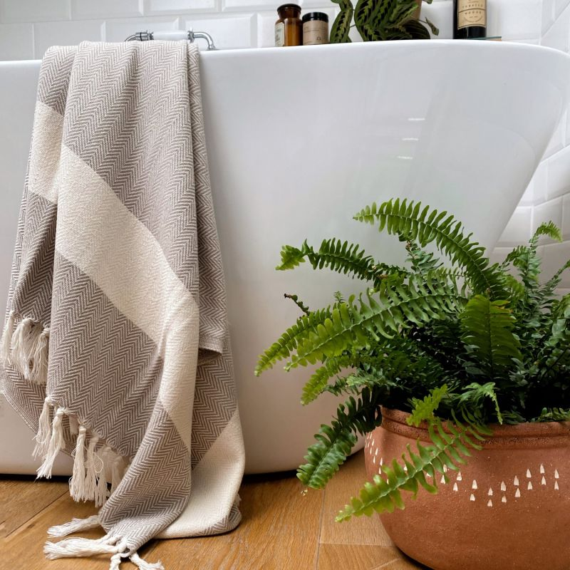 Ferah Organic Cotton Herringbone Peshtemal - Oyster image