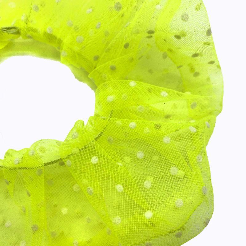 White Polka Dot Neon Tulle Super Scrunchie image