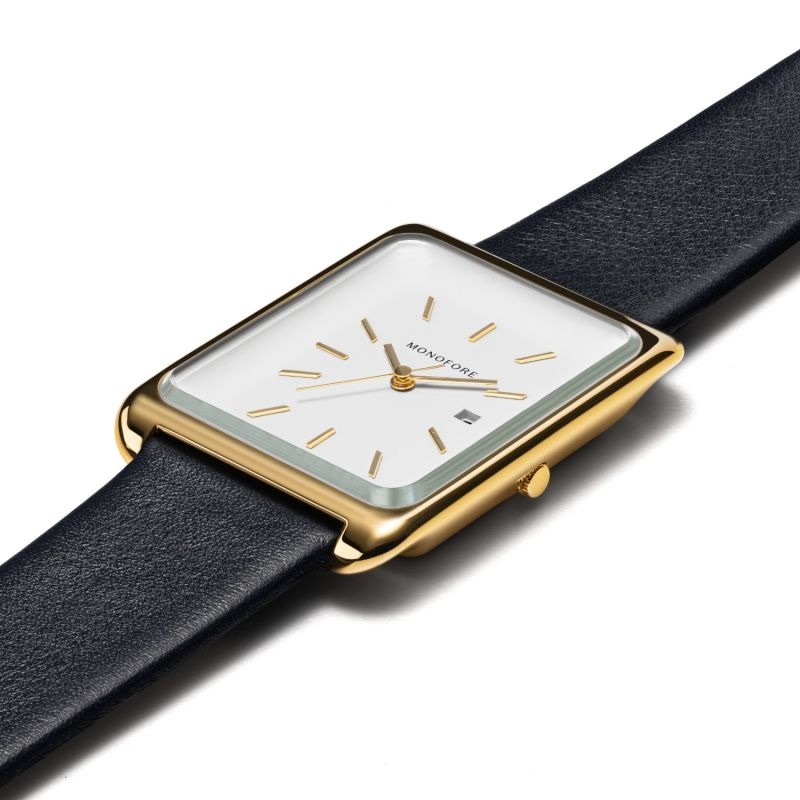 Monofore M01 Gold 41mm - Black Leather image