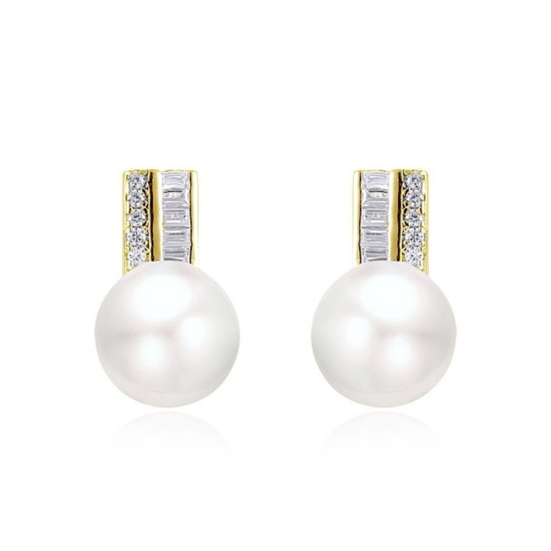 Charm Gold Plated Pearl Earrings With Zirconia image