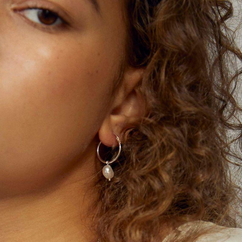 Silver Pearl Hoops image