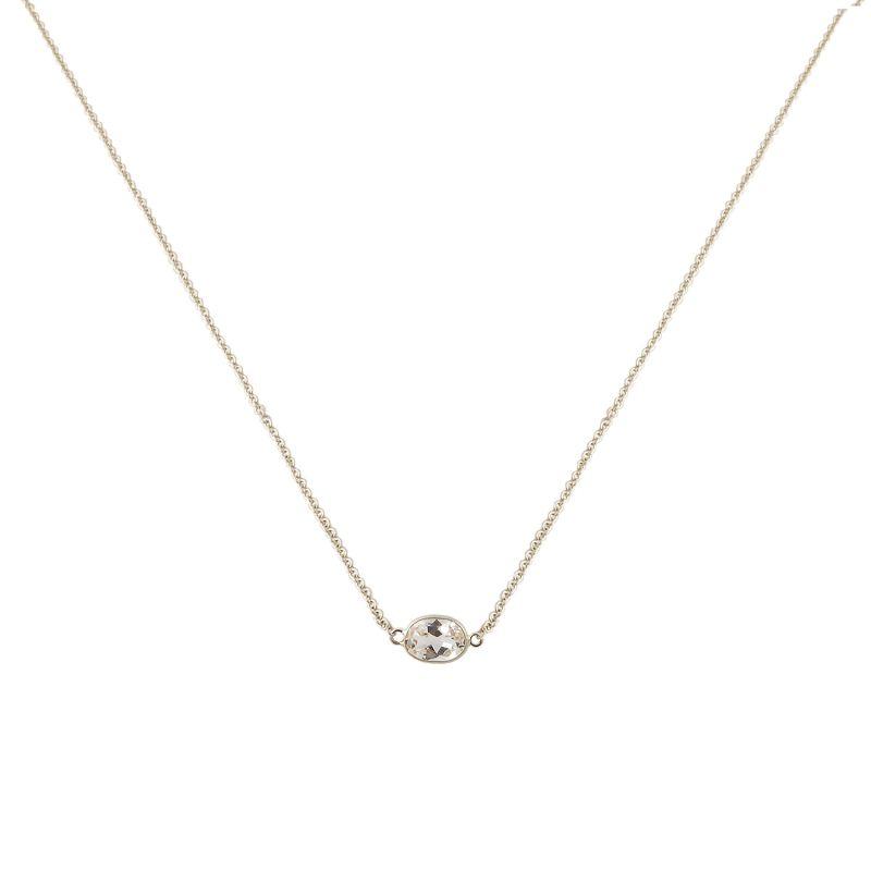 Single Stone Bezel Set White Topaz Necklace In 14 Karat White Gold image