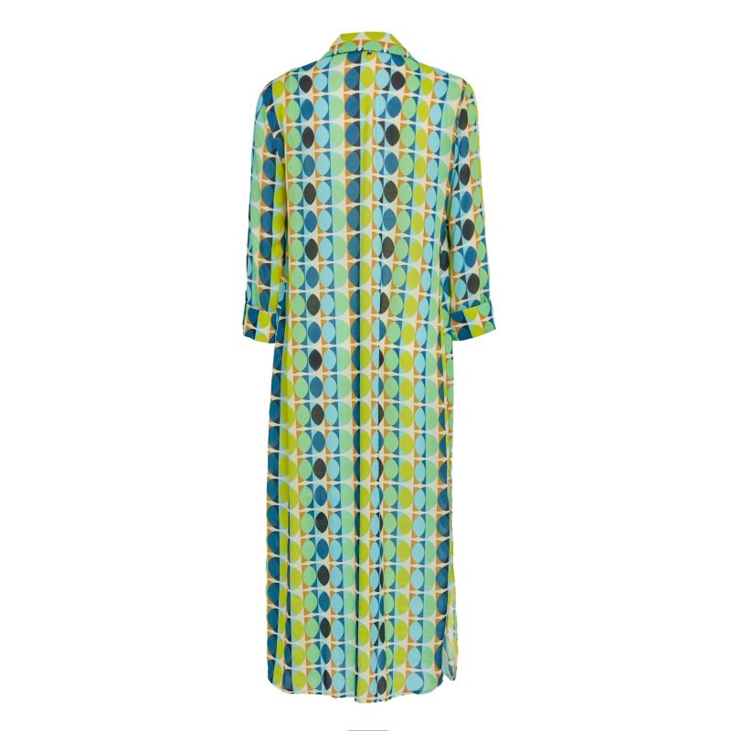 Open Front Dress With Geometric Design In Green image