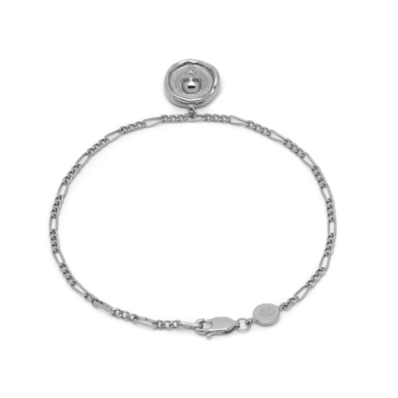 Atticus Skull Seal Charm Chain Bracelet In Silver image