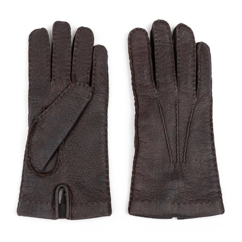 Handmade Peccary Leather Gloves Brown Adriano image