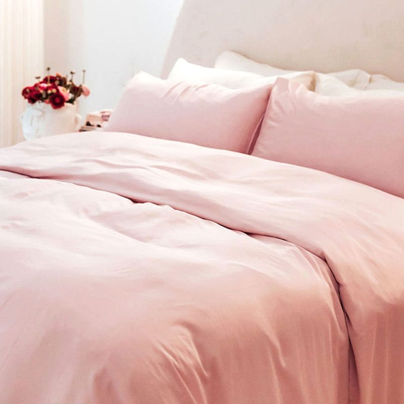 Double Bamboo Sheet Set, With 2 Pillow Slips In Pink image