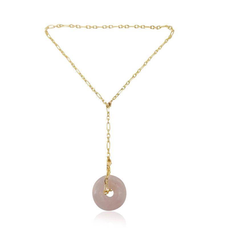 Large Rose Quartz Long Chain Necklace 18k Gold image