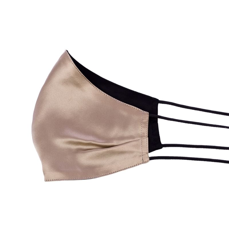 Two-Sided Black & Beige Silk Face Mask image