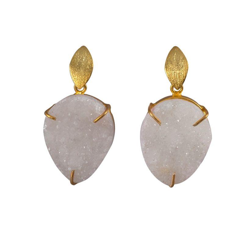 White Druzy Drop Earrings image