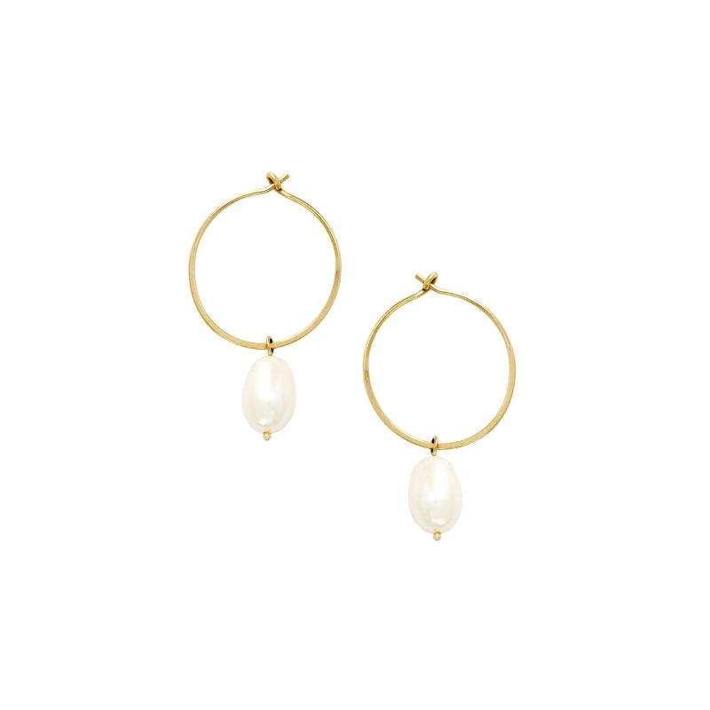 9ct Gold Pearl Hoops image