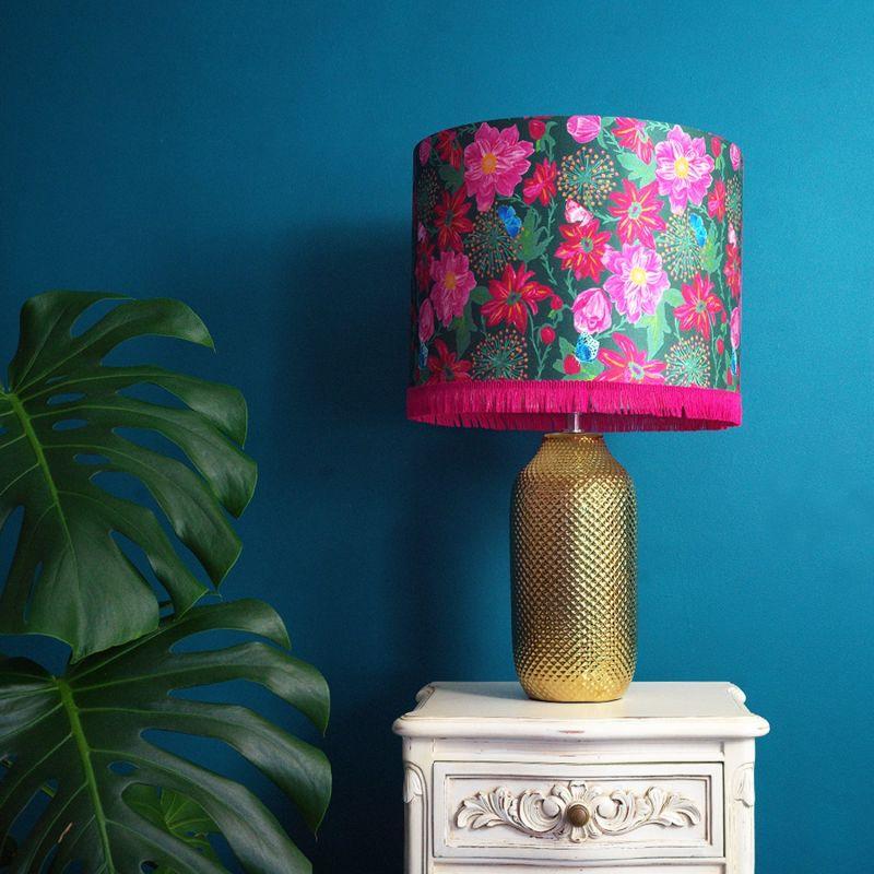 Pink Dahlias Silk Lampshade image