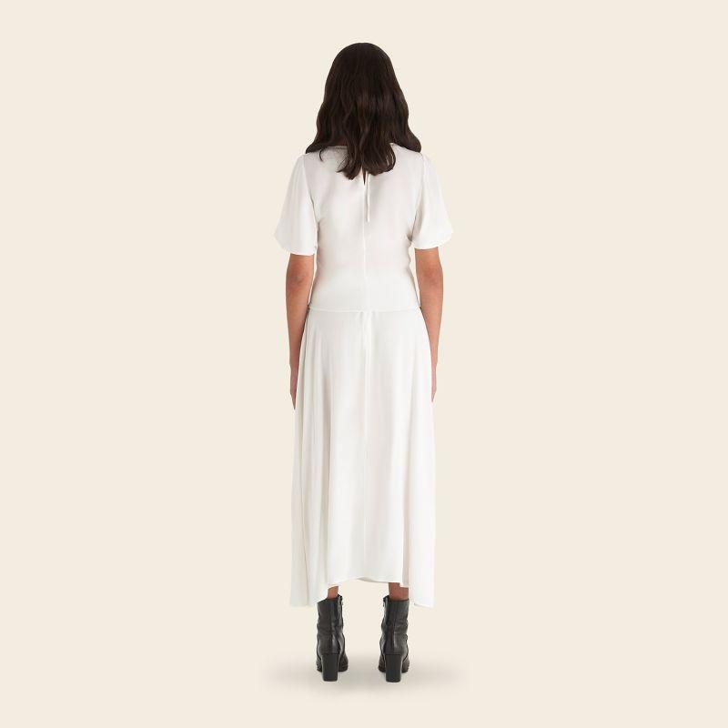 Fern Silk Midi Skirt Ivory image