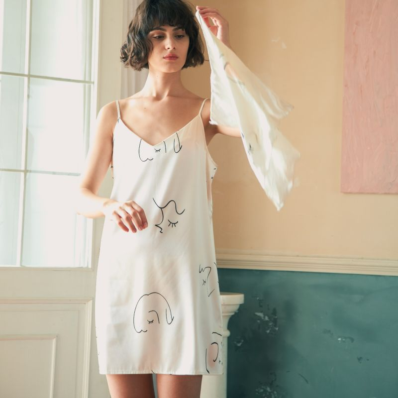 The Dream Slip Dress Art Printed Silk Dress - White image