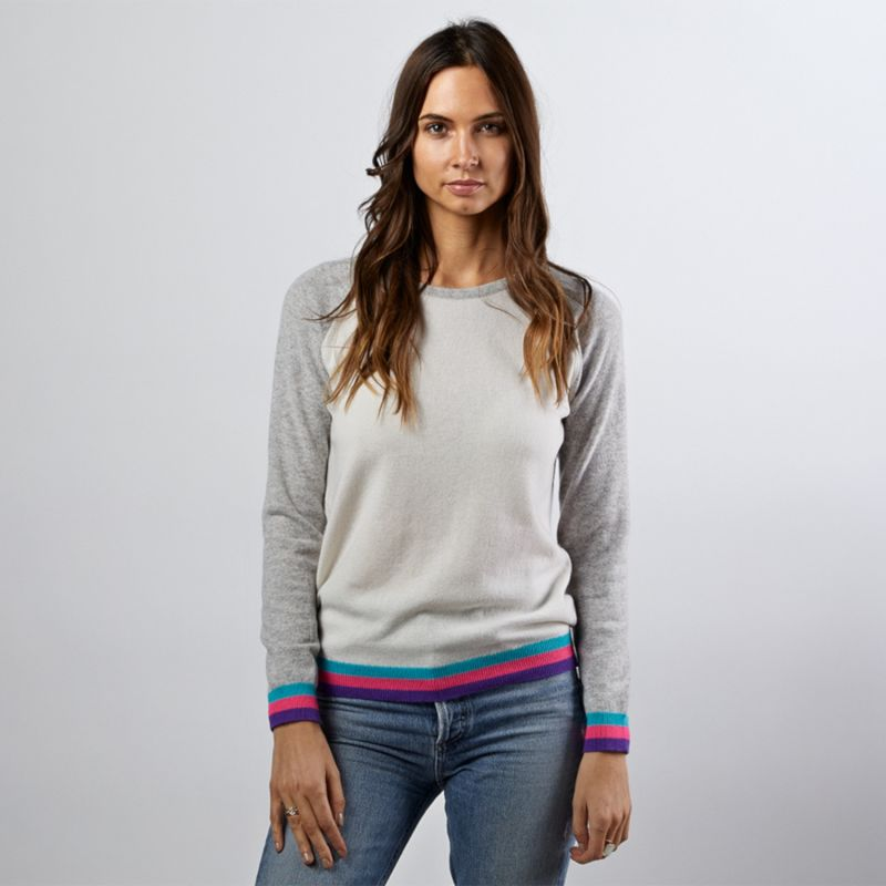 Carmen Ivory Cashmere Jumper With Neon Stripes image