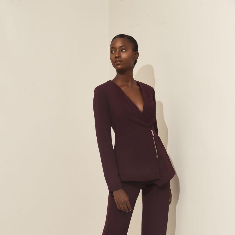 Sakiya Blazer With Front Zipper Raisin image