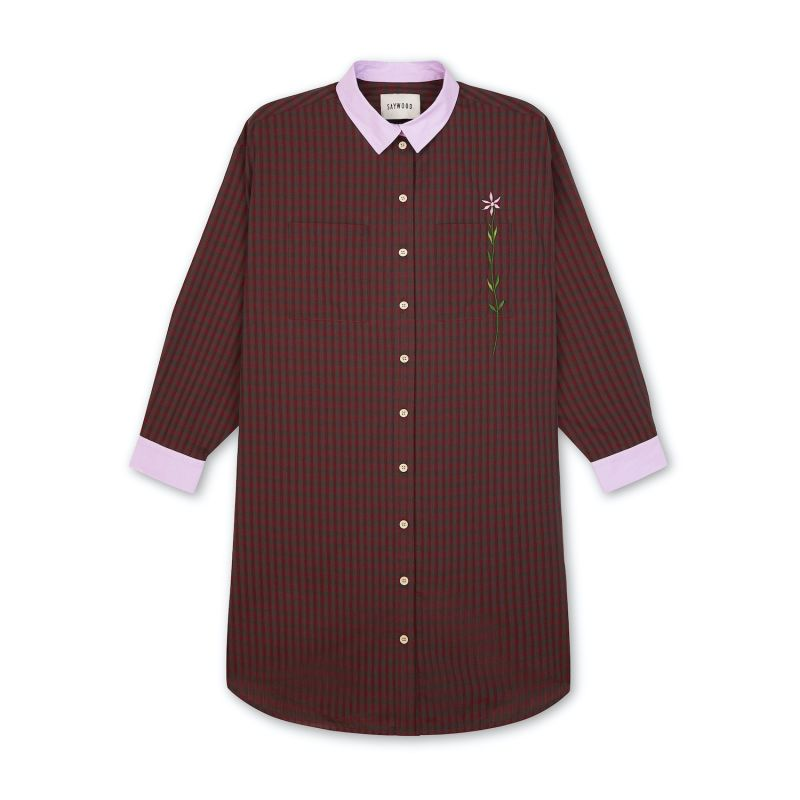 Etta Oversized Shirtdress Cotton Red Check image
