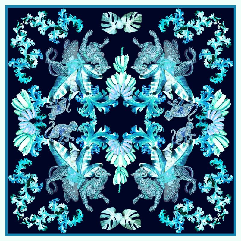 Aqua Jungle Large Square Silk Scarf image