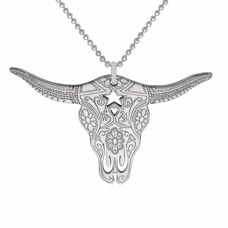 Large Silver Texas Longhorn Pendant Necklace image