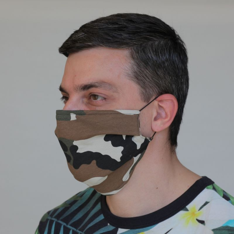 Pack Of 12 Protective Reusable Face Masks With Filter Pocket In Camouflage image