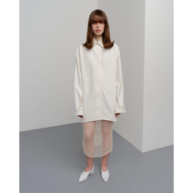 Crochet Midi Skirt - Milk image