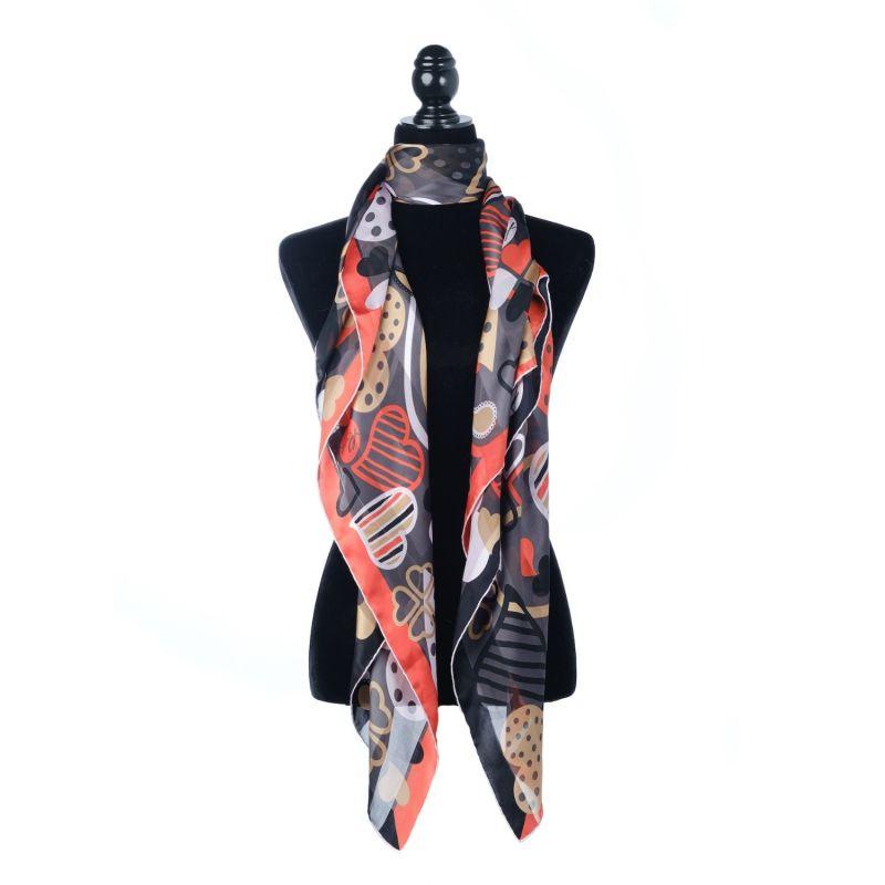 Silk Chiffon Large Square Scarf - Romantic Black image